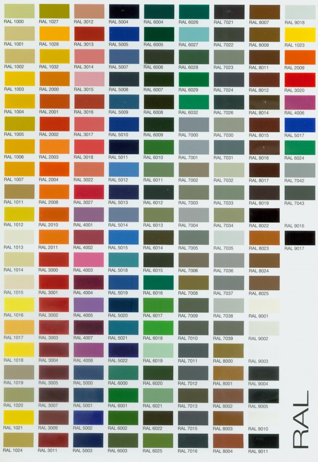 RalColorChartWeb  Rooflight Architectural